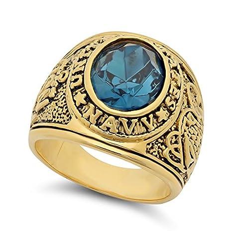 Large anneau militaire de 15 mm 14k en plaqué or simulé Aquamarine Blue CZ + Tissu de nettoyage de bijoux