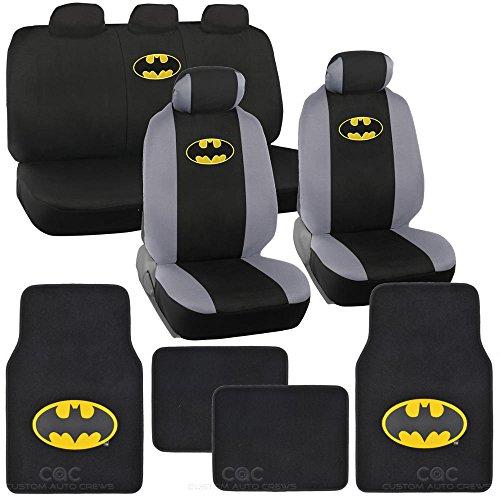 BDK Batman Sitz Abdeckung & Boden Matte für Auto–Warner Bros Auto Zubehör, Original Serie, offiziell lizenzierte Produkte