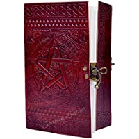Last DAY - SALE Clearance 2019! Shakun Leather Embossed Star Journal Vintage Notebook Handmade Diary, Feat: Coptic Binding and Vintage Brass Lock, 100% Pure Leather with Free Shipping