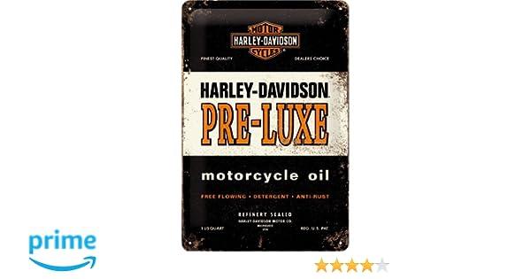 Nostalgic-Art 22175 Plaque en m/étal Harley Davidson Huile Pre 20 x 30 cm en Anglais