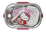 TickRight Steel Insulated Lunch Box in Transparent Cover with Cartoon Character (Hello Kitty)