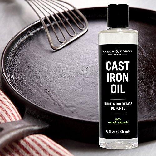 Caron & Doucet - Cast Iron Oil & Cast Iron Conditioner - 100% Plant Based From Refined Coconut Oil, Will Not Go Rancid or Sticky - Helps Maintain Seasoning on All Cast Iron Cookware. (8oz Plastic)