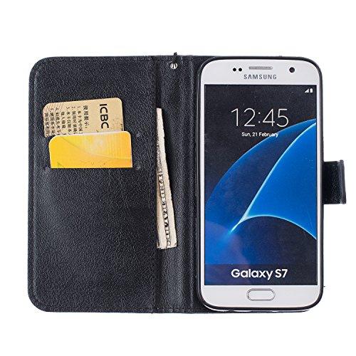 für Galaxy S7 (5,1 Zoll ) Hülle, Glitter Strass Bling Ledertasche Muster Weich PU Schutzhülle für Samsung Galaxy S7 (5,1 Zoll ) Flip Cover Wallet Case Tasche Handyhülle mit Lanyard Strap Stand Functio 6