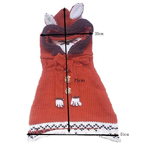 Netter Fox-Hut-Schal / Tücher Maske Earflap Set Wolle gestrickte Häkeln Coif mit Kapuze Schal Ohr Nackenwärmer Mützen Kappe für 2-6 Jahre Kinder (Rot und Long)