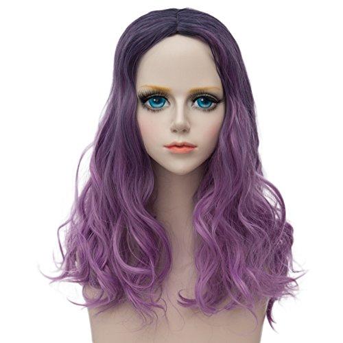 priomix kurz gelockt gewellt braun Root lila Ombre Nachtclub Kleid bis Anime Cosplay Perücke + (Womens Girl Party Perücke Lila)