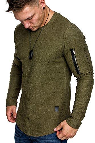 Amaci&Sons Oversize Vintage Herren Pullover Cargo-Style Hoodie Sweatshirt Crew-Neck 6067 Khaki M
