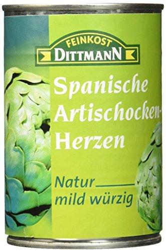 Feinkost Dittmann Artischockenherzen natur, mild-würzig 5/7 Stücke, 3er Pack (3 x 390 g)