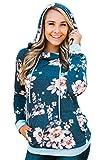 Hibluco Damen Casual Sweatshirt Blumen Hoodie Pullover mit Taschen