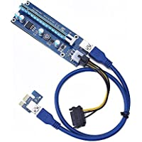 molylove (1pack) 6-Pin Powered PCI-E PCI Express Riser - VER 006C - 1X to 16X PCIE USB 3.0 Adapter Card - With USB Extension Cable - GPU Graphic Card Crypto Currency Mining