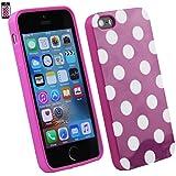 Emartbuy® Apple iPhone SE Polka Dots Gel Haut Kasten Abdeckung Lila / Weiß