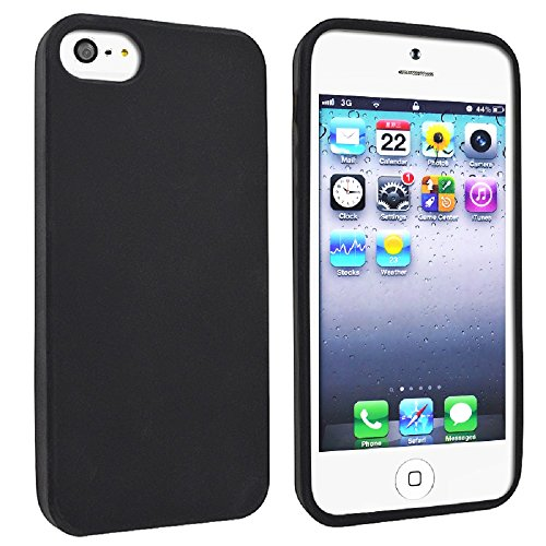 Gadgets World Portefeuille de couverture de chiquenaude PU Cases Grip en cuir, étuis en silicone doux, dur Retour cas s'inscrit pour Apple iPhone 5S, 5G et l'iPhone 5 ne + grand stylet stylet. (Baby B Black Silicone