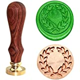 Botokon Olive Wreath Wax Seal Stamp, Vintage Retro Brass Head Wooden Handle Removable Seal Stamp, Great for Embellishment of Envelope, Post Card, Invitations, Wine Packages, Gift Decoration