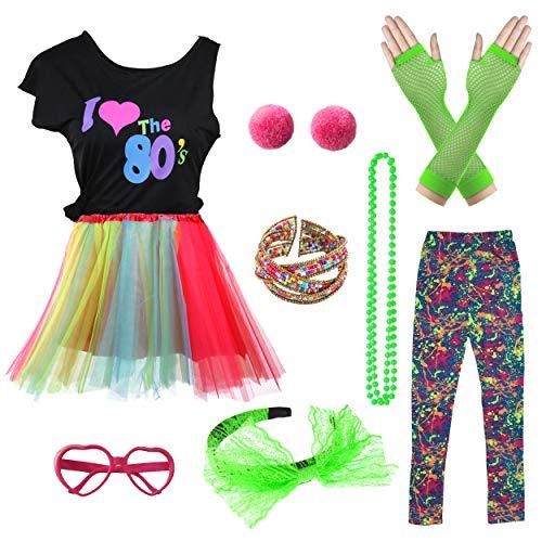 Kostüm Star Rock Accessoires - Ich Liebe 80er Jahre T-Shirt Pop Party Rock Star Kind Mädchen Kostüm Accessoires ausgefallene Outfits (8/10, Colorful)