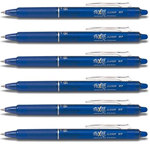 Pilot Frixion Clicker Feiner Tintenroller mit einziehbarer blau radierbare Stifte Eingabestift 0,7 mm Schreibspitze Feder 0,35 mm Strichstärke BLRT-FR7(6 Stück) - Pilot Kugelschreiber Blau