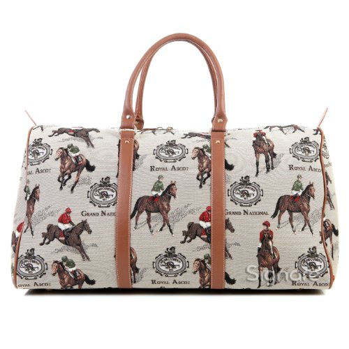 Signare grand fourre-tout bagage weekender en toile tapisserie mode femme Course