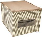 mDesign Set da 4 scatole per armadio in tessuto - Scatola contenitore portabiancheria per vestiti, scarpe etc. - Contenitore con coperchio in polipropilene con motivo a zigzag - Talpa/naturale