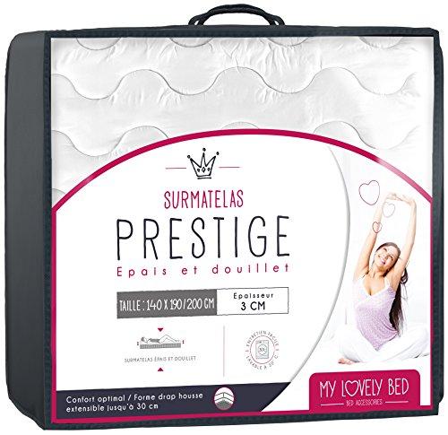 My Lovely Bed - SurMatelas Prestige 140x190/200 cm - Epais et Douillet - Enveloppe 100% Coton - Lavable