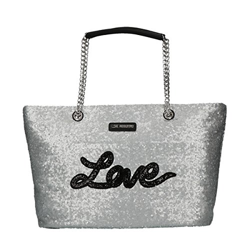 Love Moschino Sequins shopping bag silver