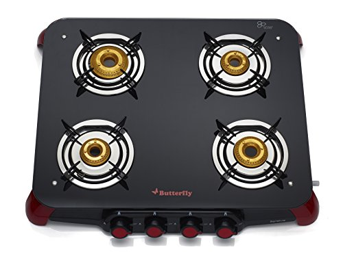 Butterfly Signature Glass 4 Burner Gas Stove, Black/Red