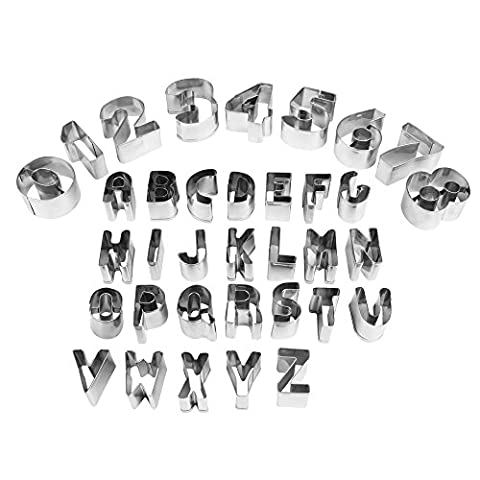 COKOSIM 35 Pieces Letters and Numbers Shapes Mini Cookie Cutters Stainless Steel Moulds Sets for Cake Decorating,DIY Fun