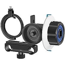 Neewer Follow Focus avec Gear Ring Belt pour Canon Nikon Sony et d'autres appareil photo reflex numérique caméscope DV vidéo Compatible avec tige 15mm film Making Système, support d'épaule, Stabilisateur, film, Rig (Bleu + Noir)