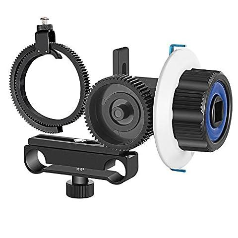 Neewer Follow Focus avec Ceinture d'Anneau d'Engrenage pour Canon Nikon Sony et Autres Caméscopes DSLR Vidéo DV S'adapte à 15mm Rod Système de Fabrication de Films, Support d'Epaule, Stabilisateur, Movie Rig (Bleu + Noir)