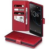 Xperia XA1 Ultra Hülle, Terrapin [ECHT LEDER] Brieftasche Case Hülle mit Standfunktion Kartenfächer und Bargeld für Sony Xperia XA1 Ultra Tasche - Rot