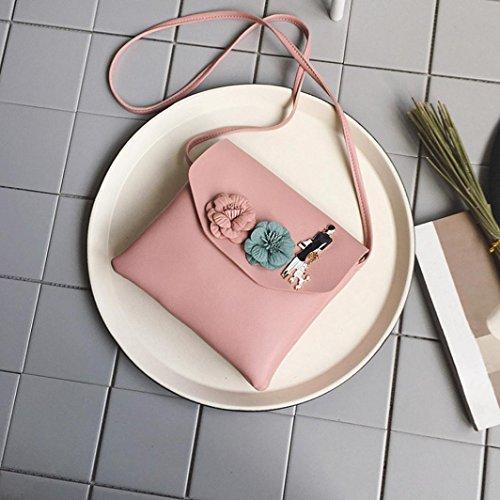 Longra Borsa a tracolla singola borsa a tracolla moda modello fiore alla moda di colore solido donne zero Rosa