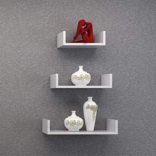 TANBURO Mensole da Muro Set Da 3 Mensole da Parete Scaffale Libreria/CD/DVD/libro/mensole 3 Pezzi Diametro Diverso-Bianco - 7