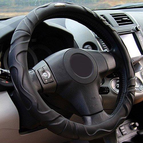 Semoss Lammfell Echt Leder Lenkradbezug Sports Lenkradabdeckung Lenkradschoner Auto Universal mit Anti Rutsch Design,Dimension:37-38cm,Farbe:Schwarz