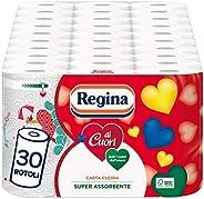 Regina di Cuori Carta Cucina | Confezione da 30 Rotoli | 50 fogli per rotolo* | Grande Assorbenza, Spessa e Resistente | Car