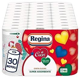 Regina di Cuori Carta Cucina | Confezione da 30 Rotoli | 50 fogli per rotolo* | Grande Assorbenza, Spessa e Resistente…