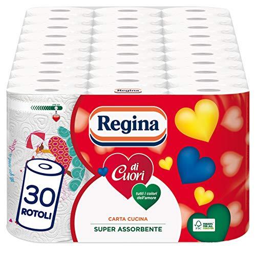 Regina di Cuori Carta Cucina   Confezione da 30 Rotoli   50 fogli per rotolo*   Grande Assorbenza, Spessa e Resistente   Carta 100% certificata FSC®