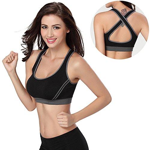 Top sportivo da donna con reggiseno imbottito, adatto per allenarsi in palestra, correre, fare yoga, giocare a tennis, aderente e sexy. black m