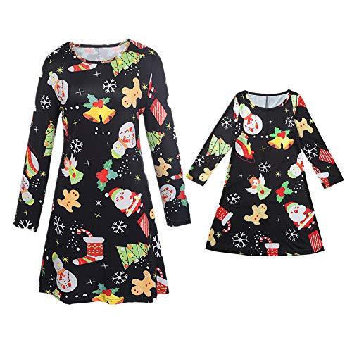 Weihnachten Familie Pyjamas Outfit Schlafanzug Nachtwäsche Damen Herren Baby Säugling Family Kleidung Zuhause Matching Set Xmas, Mama & ich Cartoon Kleid Familienkleidung(Kid1,100) - Green Christmas Pyjama