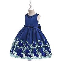 KOKQSX-Girls'skirts para niños Vestidos Faldas de Pantalla Flores Princesa Azul 130cm