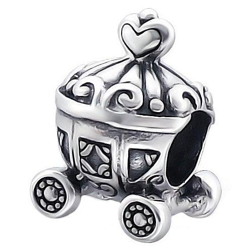 So Chic Gioielli - Charm Carrozza Cuore Principessa Cenerentola Argento Sterling 925/000 - Compatible con Pandora, Trollbeads, Chamilia, Biagi