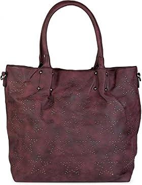 [Gesponsert]styleBREAKER Vintage Shopper Tasche mit All Over Nieten in Stern Form, Schultertasche, Umhängetasche, Handtasche...