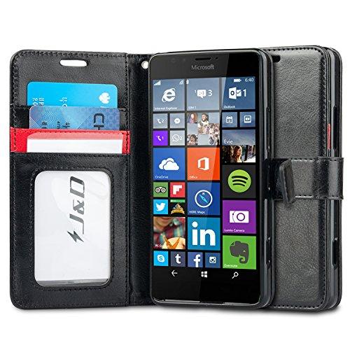 Lumia 950 Hülle, J&D [Handytasche mit Standfuß] [Slim Fit] Robust Stoßfest Aufklappbar Tasche Hülle für Lumia 950 - Schwarz