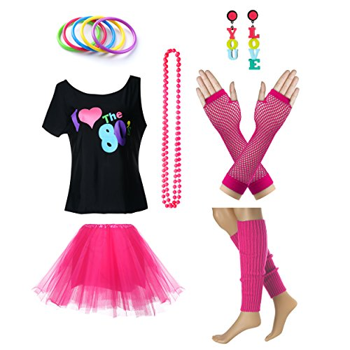 Fun Daisy Clothing Damen I Love The 80er Jahre T-Shirt 80er Jahre Outfit Zubehör, Hot Pink - UK 18-20 / ()