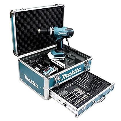 Taladro atornillador de impacto Makita 18V Li-ion 1.3Ah en maletín alu + Kit de accesorios–HP457DWEX4