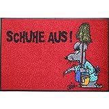 Wash+Dry Waschbare Fußmatte - ©Uli Stein - Maus - Schuhe aus! - 50x75cm lustiger Fußabstreifer mit Cartoon Motiv