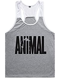YeeHoo Hombres Camisetas de Tirantes Entrenamiento de Tirantes Chaleco Gimnasio Músculo Formación Túnica Tank Top Texto Animal