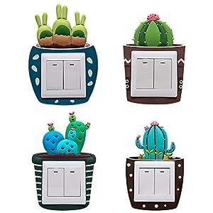 4 Stück – Wandtattoo Aufkleber für Lichtschalter, Lichtschalter Wandaufkleber Für Kinderzimmer DIY Dekoration…