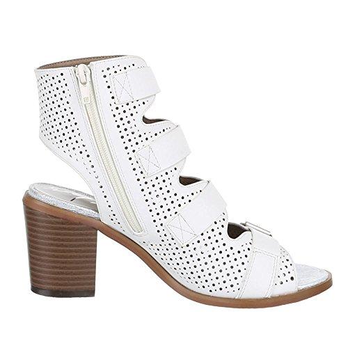 Damen Schuhe, BJ15138, PUMPS PEEP TOE SANDALETTEN Weiß