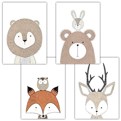 Frechdax® 4er Set Kinderzimmer Babyzimmer Poster Bilder DIN A4 | Mädchen Junge Deko | Dekoration Kinderzimmer | Waldtiere Safari Skandinavisch (4er Set Schlicht, Tiermotive, Eule, Fuchs)