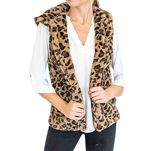 (i-uend 2019 Damen Herbst Mantel,Winter Elegante Ärmellos Weste Kapuzenjacke Mädchen Leopard Print Cardigan Mit Kurz Outerwear Mantel)