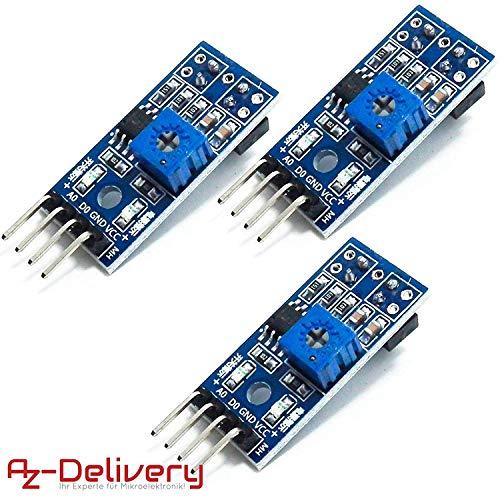 AZDelivery 3 x TRCT5000 Módulo para evitar obstrucciones en el seguidor de líneas infrarrojas IR para Arduino con eBook incluido