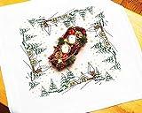 Kamaca Stickpackung WINTERLANDSCHAFT Kreuzstich und Steppstich vorgezeichnet aus Baumwolle Mitteldecke 80x80 cm zum Selbersticken Winter Advent Weihnachten
