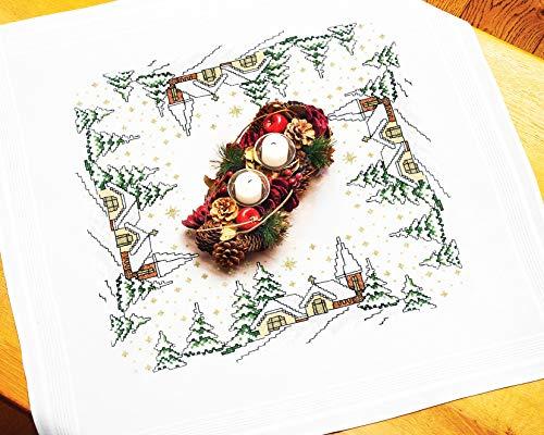Kamaca - set per ricamo a punto croce, tovaglia con motivo natalizio, ricamo e filo in cotone, già cucito con bordo decorativo, centrotavola 80 x 80 cm